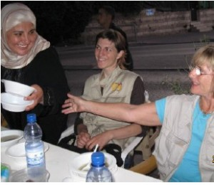 Iftar at Hanoun's pavement camp (with Jenny)