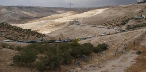 View of tailback from Wadi Nar checkpoint